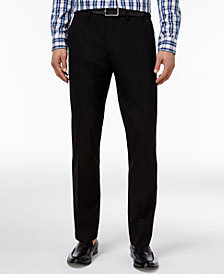 Kenneth Cole Reaction Men's Slim-Fit Stretch Black Subtle-Plaid Dress Pants