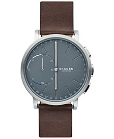 Skagen Connected Hagen Brown Leather Strap Hybrid Smart Watch 42mm SKT1110