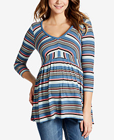 Motherhood Maternity V-Neck Striped Babydoll Top