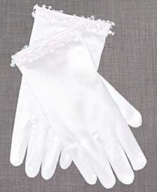 Blush by Satin Gloves With Crystals, Toddler, Little Girls & Big Girls