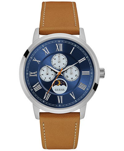 guess watches macy s guess men s tan leather strap watch 44mm u0870g4