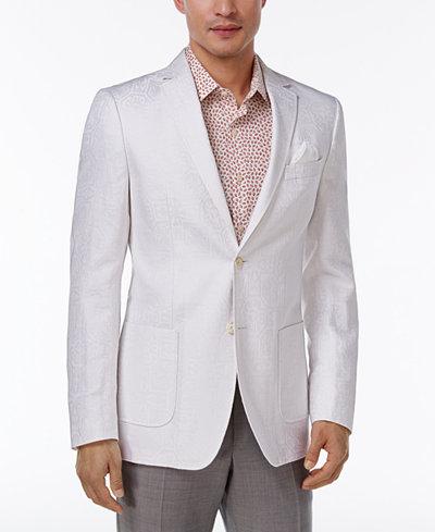 Tallia Men's Big & Tall Slim-Fit White Tonal Geo Sport Coat ...