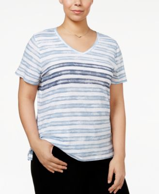 Image of Style & Co Plus Size Tie-Dyed Striped Top, Only at Macy's