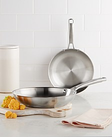 """Classic Stainless Steel 8"""" & 10"""" Fry Pan Set"""