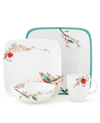 Simply Fine Dinnerware, Chirp Square 4 Piece Place Setting