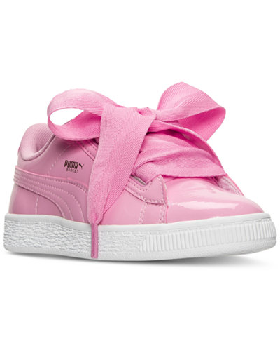 Puma Little Girls' Basket Heart Patent Casual Sneakers from Finish Line
