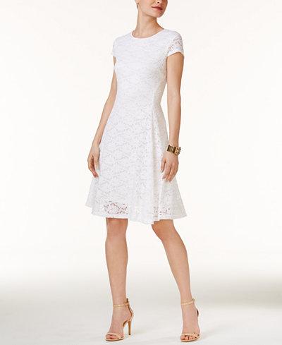 Alfani Lace Fit Amp Flare Dress Created For Macy S