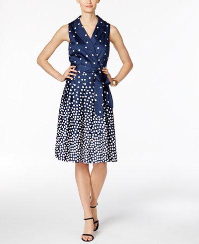 Anne Klein Printed Faux-Wrap Shirtdress