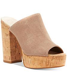 Jessica Simpson Giavanna Cork Block-Heel Platform Slides