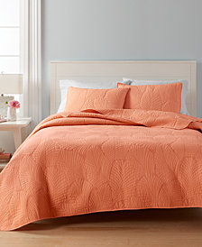 CLOSEOUT! Martha Stewart Collection 100% Cotton Atlantic Palm Twin Quilt, Created for Macy's