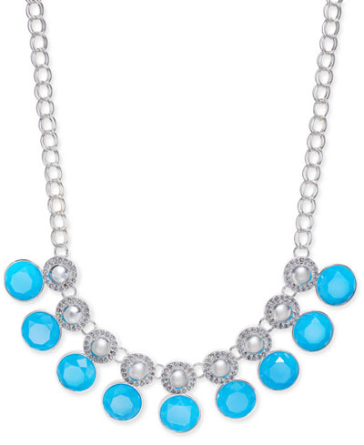 Charter Club Multi-Stone Large Link Collar Necklace, Created for Macy's