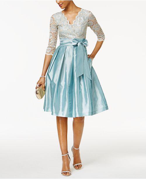 Jessica Howard Lace Taffeta Fit & Flare Dress