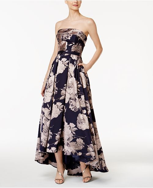 0012fc7cde39b XSCAPE Floral-Print Brocade Strapless Gown & Reviews - Dresses ...