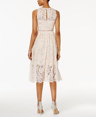 Adrianna Papell Lace Tea Length Dress Dresses Women Macy S