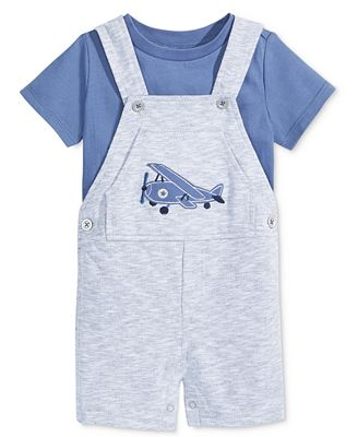 First Impressions 2-Pc. T-Shirt & Airplane Shortall Set, Baby Boys (0-24 months), Only at Macy's
