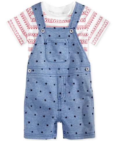 First Impressions 2-Pc. T-Shirt & Star-Print Shortall Set, Baby Boys (0-24 months), Only at Macy's