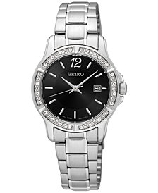 Seiko Women's Crystal Dress Stainless Steel Bracelet Watch 28mm SUR719