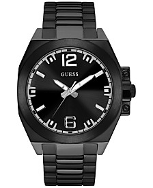 guess watches macy s guess men s black stainless steel bracelet watch 46mm u0963g2