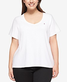 Plus Size Cotton V-Neck T-Shirt