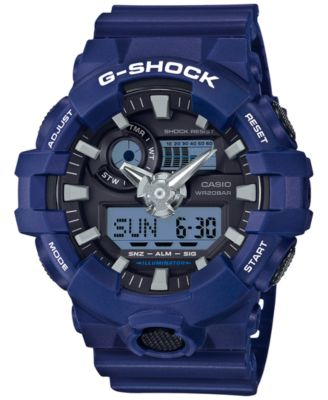 Image of G-Shock Men's Analog-Digital Blue Resin Strap Watch 54mm GA700-2A
