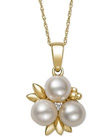 Cultured Freshwater Pearl (6mm) and Diamond Accent Pendant Necklace in 14k Gold, Created for Macy's