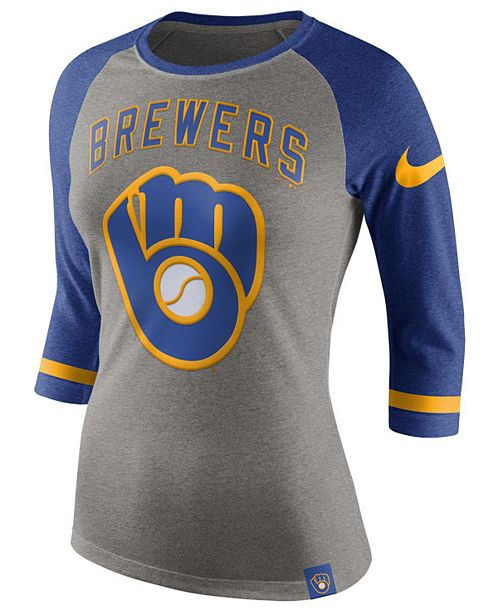 Nike Women's Milwaukee Brewers Tri Raglan T-Shirt