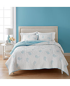 CLOSEOUT! Martha Stewart Collection Cotton Pleasant Fields Reversible Queen Quilt, Created for Macy's