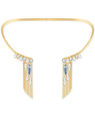 Swarovski Gold-Tone Blue & Clear Crystal Fringed Torque Necklace