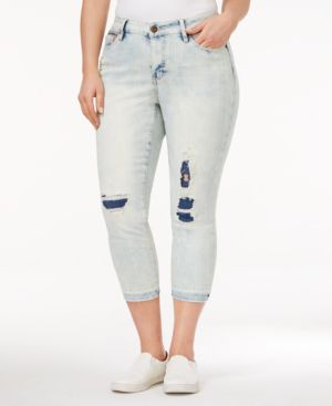 Rampage Trendy Plus Size Sophie Ripped Cabrini Wash Skinny Jeans 4550904