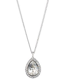 "Pavé & Stone Pear Pendant Necklace, 16"" + 3"" extender, Created for Macy's"