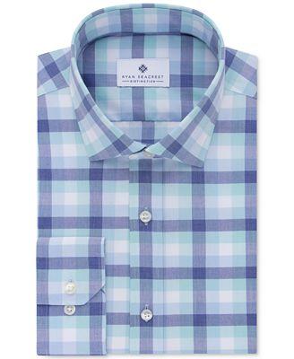 Ryan Seacrest Distinction™ Men's Slim-Fit Non-Iron Light Spearmint Check Dress Shirt, Only at Macy's