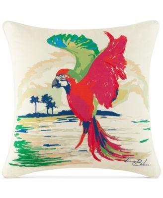 """Painted Parrot 20"""" Square Decorative Pillow"""