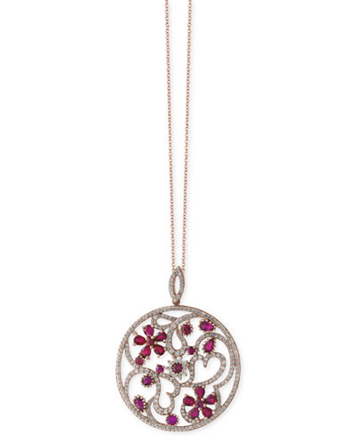 Amoré by EFFY®Certified Ruby (4-1/3 ct. t.w.) and Diamond (1-1/2 ct. t.w.) Floral Disc Pendant Necklace in 14k Rose Gold