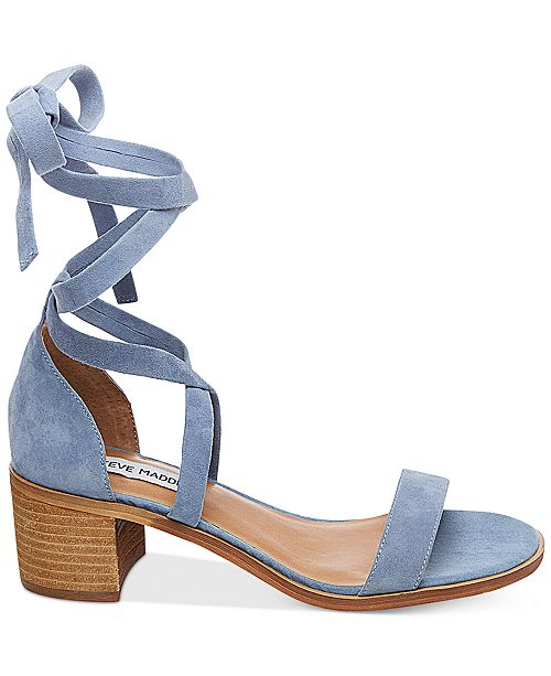 7bd3b1a8db4d Steve Madden Women s Rizza Lace-Up Block-Heel Sandals   Reviews ...