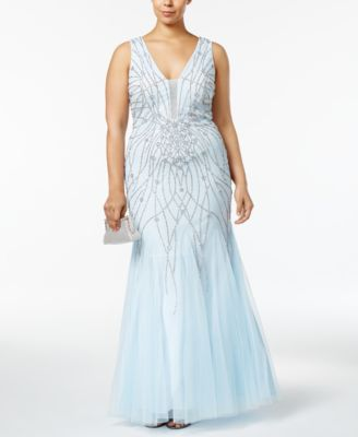 Xscape Plus Size Beaded Mesh Mermaid Gown