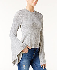 Bar III Bell-Sleeve Melange Top, Created for Macy's