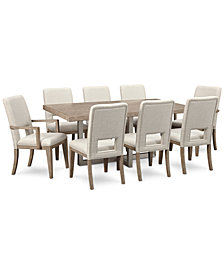 CLOSEOUT! Altair Dining Furniture Set, 9-Pc. (Dining Table, 6 Side Chairs & 2 Arm Chairs), Created for Macy's