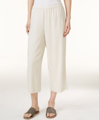 Silk Cropped Pants, Regular & Petite
