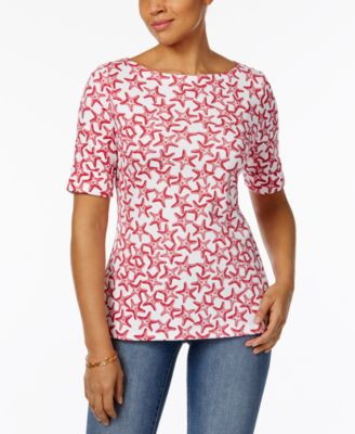 Image of Karen Scott Elbow-Sleeve Printed Boatneck Top, Only at Macy's