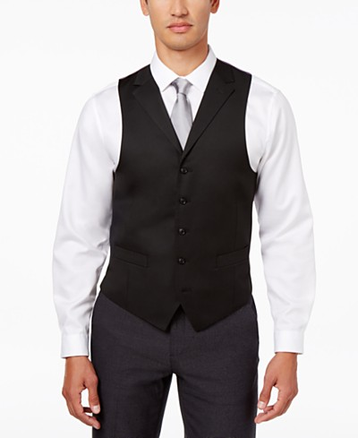 Sean John Men's Classic-Fit Black Solid Suit Vest