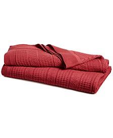 CLOSEOUT! Lauren Ralph Lauren Ultra Soft 100% Cotton Zig Zag Twin Blanket