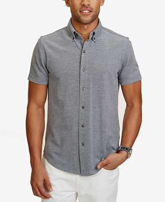Nautica Men's Slim-Fit Oxford Piqué Short-Sleeve Shirt - Casual ...