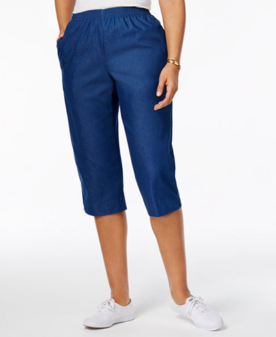 Alfred Dunner Pull-On Cropped Denim Pants