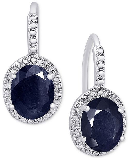 Macy's Sapphire (6 ct. t.w.) and Diamond Accent Drop Earrings in Sterling Silver