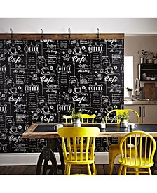 Coffee Shop Black and White Wallpaper