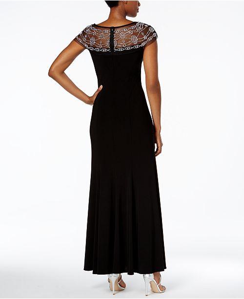 Gown M Black Richards Trim Beaded Line R amp; A fqx0xH