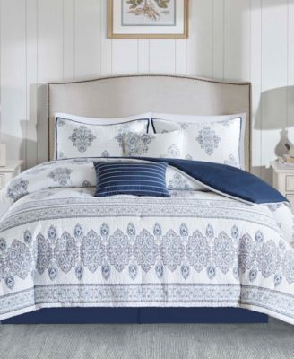Sanibel 5PC Quilted Damask Print Full/Queen Duvet Set
