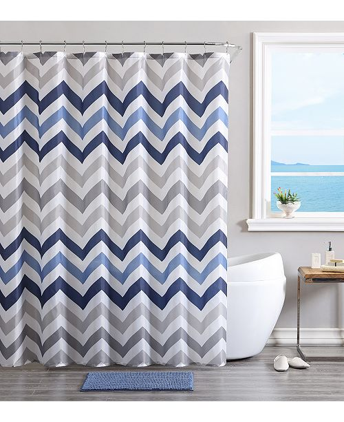 Victoria Classics VCNY Chevron Bath Rug Shower Curtain And Hooks Set