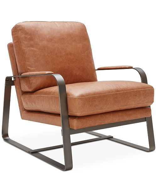 Accent Chairs.Jollene Leather Accent Chair