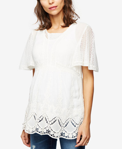 A Pea In The Pod Maternity Embroidered Lace Tunic
